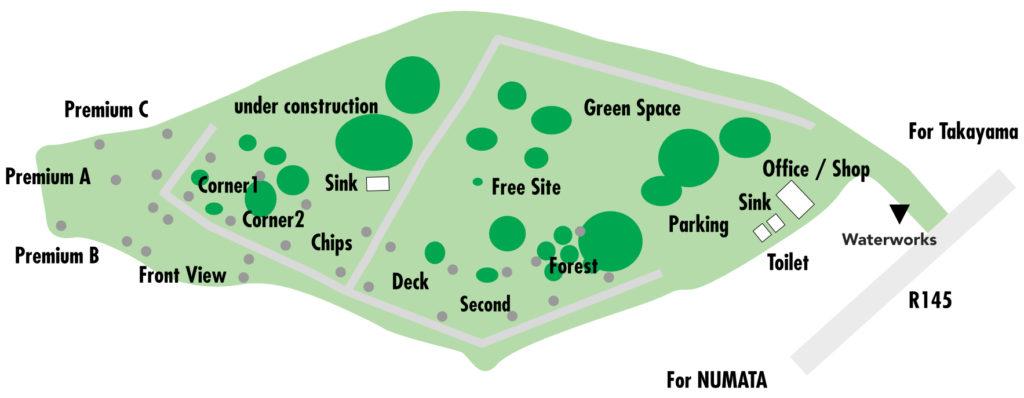 ブルーサミット オートキャンプ場全体図